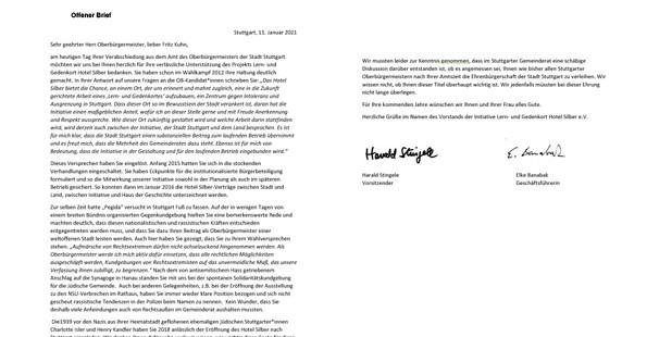 11. Januar 21: Offener Brief an Fritz Kuhn zu seiner Verabschiedung als OB